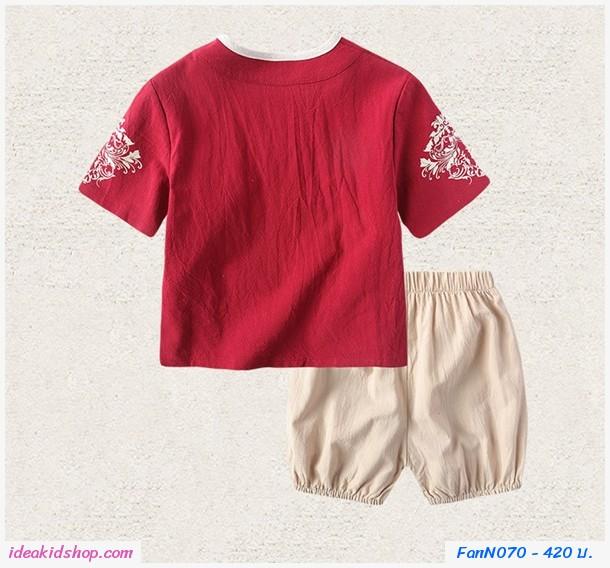 ชุดเสื้อกางเกงตรุษจีนตี๋น้อย Chinese style สีแดง