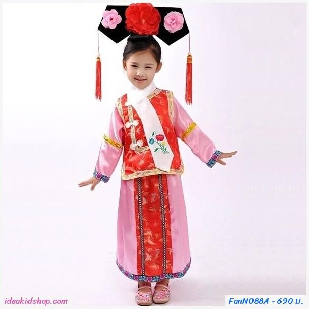 ชุดตรุษจีนฮองเฮา พร้อมคาดผม ได้ 5 ชิ้น สีแดง
