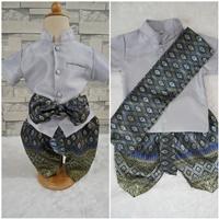 ชุดไทยเด็กชายแขนสั้นพร้อมผ้าพาด-พี่หมื่น-สีเทา