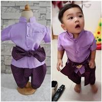 ชุดไทยเด็กชายแขนสั้นพร้อมผ้าพาด-พี่หมื่น-สีม่วง