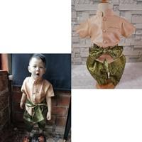 ชุดไทยเด็กชายแขนสั้นพร้อมผ้าพาด-พี่หมื่น-สีแชมเปญ