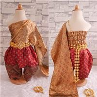 ชุดไทยการะเกดโจง-สไบผ้าไหมอินเดีย-โทนสีแดงทอง