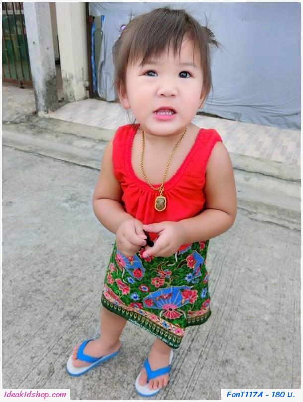 เซตชุดไทยคอกระเช้า+ผ้าถุงจีบ เสื้อแดง