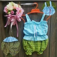 ชุดไทยผ้าลูกไม้สายเดี่ยว_กางเกงลายไทย-สีฟ้า