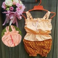 ชุดไทยผ้าลูกไม้สายเดี่ยว_กางเกงลายไทย-สีส้ม