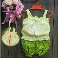 ชุดไทยผ้าลูกไม้สายเดี่ยว_กางเกงลายไทย-สีเหลือง