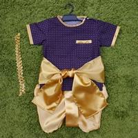 ชุดไทยเด็กชายผ้าลายพร้อมโจงและผ้าคาด-โทนสีม่วง