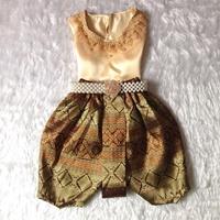 ชุดไทยเด็กหญิง-คอกลมลูกไม้-สีทอง