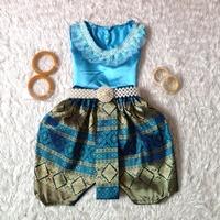 ชุดไทยเด็กหญิง-คอกลมลูกไม้-สีฟ้า
