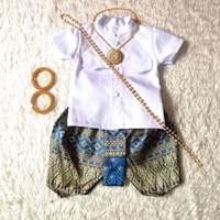 ชุดไทยเด็กชายราชปะแตนแขนสั้นโจงลายไทย-สีฟ้าน้ำเงิน