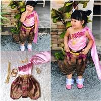ชุดไทยเด็กสไบปักลูกไม้_โจงลายไทย-แม่การะเกด-สีชมพู
