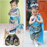 ชุดไทยเด็กสไบปักลูกไม้_โจงลายไทย-แม่การะเกด-สีฟ้า