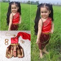 ชุดไทยเด็กสไบปักลูกไม้_โจงลายไทย-แม่การะเกด-สีแดง