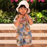 ชุดเสื้อกางเกงฮาวาย-ลายทะเล-สีฟ้า
