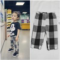 กางเกงเด็กแฟชั่นแนว-ลายตาราง-สีดำขาว
