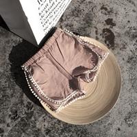 กางเกงขาสั้นผ้านิ่ม-แต่งพู่กลมสุดเก๋-สีชมพูกะปิ
