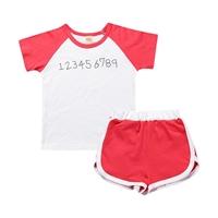 ชุดเสื้อกางเกงเด็ก-Sport-ลายตัวเลข-สีส้ม