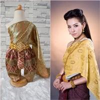 ชุดไทยการะเกดโจง-สไบผ้าไหมอินเดีย-โทนสีเขียวทอง