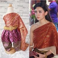 ชุดไทยการะเกดโจง-สไบผ้าไหมอินเดีย-โทนสีแดงส้ม