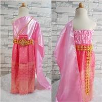 ชุดไทยสไบงามผ้าถุงหน้านาง-สีชมพูหวาน