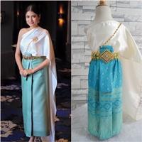 ชุดไทยสไบงามผ้าถุงหน้านาง-สีฟ้าครีม