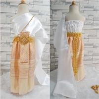ชุดไทยสไบงามผ้าถุงหน้านาง-สีทองครีม