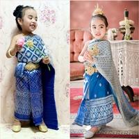ชุดไทยสไบพีทและกากเพชร_ผ้าถุงหน้านาง-สีน้ำเงิน