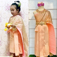 ชุดไทยสไบพีทและกากเพชร_ผ้าถุงหน้านาง-สีโอรส