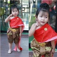 ชุดไทยสไบผ้าแจ็คการ์ดชีฟอง_โจง-การะเกด-สีแดง
