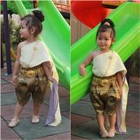 ชุดไทยสไบผ้าแจ็คการ์ดชีฟอง_โจง-การะเกด-สีทองครีม