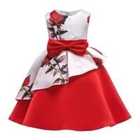 เดรสออกงานติดโบว์-ลายดอกกุหลาบ-สีแดงขาว