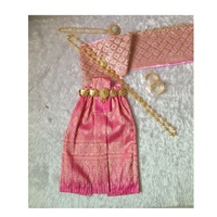 ชุดไทยสไบกากเพชร-ผ้าถุง-การะเกด-สีชมพู