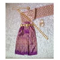 ชุดไทยสไบกากเพชร-ผ้าถุง-การะเกด-สีม่วง