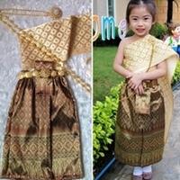 ชุดไทยสไบกากเพชร-ผ้าถุง-การะเกด-สีทอง