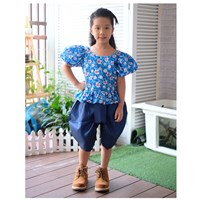 ชุดไทยเด็กหญิง-ลายดอก-สีฟ้า