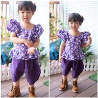 ชุดไทยเด็กหญิง-ลายดอก-สีม่วง
