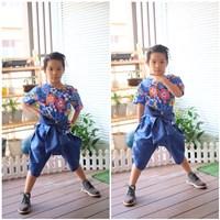 ชุดไทยเด็ก_ผ้าผูกเอว-เด็กชาย-ลายดอกไม้-สีน้ำเงิน