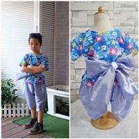 ชุดไทยเด็ก_ผ้าผูกเอว-เด็กชาย-ลายดอกไม้-สีฟ้า