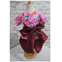 ชุดไทยเด็ก_ผ้าผูกเอว-เด็กชาย-ลายดอกไม้-สีชมพูแดง