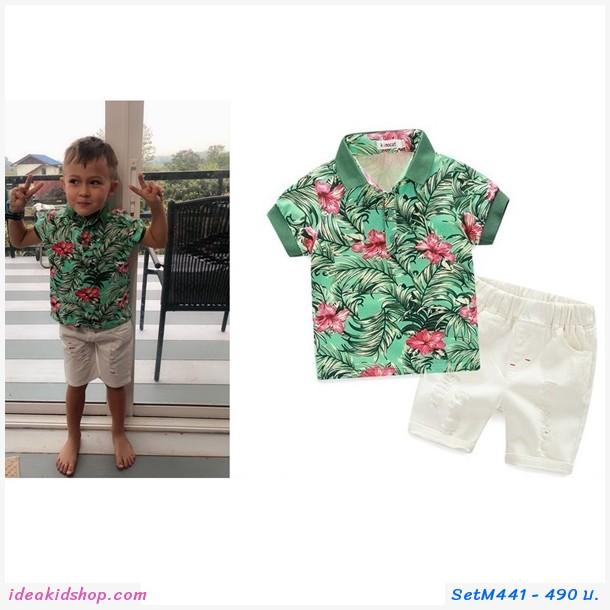 ชุดเสื้อ+กางเกง ลายดอก flower green