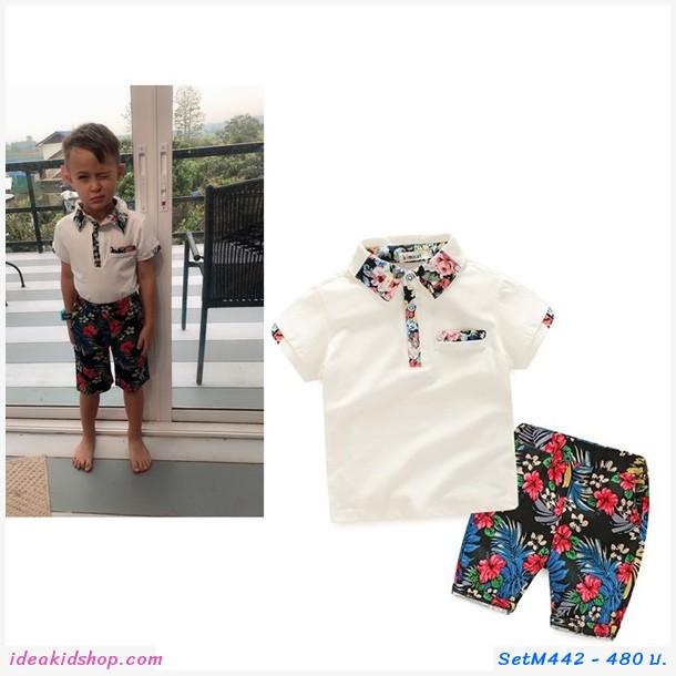 ชุดเสื้อ+กางเกง ลายดอก flower เสื้อขาวกางเกงลาย