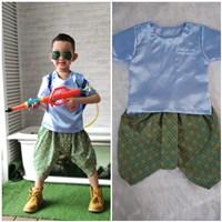 ชุดไทยเด็กเสื้อพื้น_โจงผ้าลายไทย-สีฟ้า