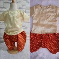 ชุดไทยเด็กเสื้อพื้น_โจงผ้าลายไทย-สีทอง