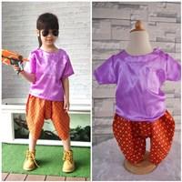 ชุดไทยเด็กเสื้อพื้น_โจงผ้าลายไทย-สีม่วง