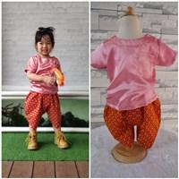 ชุดไทยเด็กเสื้อพื้น_โจงผ้าลายไทย-สีกะปิ