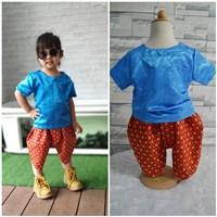 ชุดไทยเด็กเสื้อพื้น_โจงผ้าลายไทย-สีน้ำเงิน