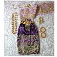 ชุดไทยสไบลูกไม้_ผ้าถุง-การะเกด-สีม่วง