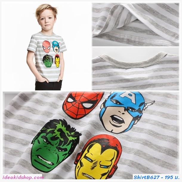 เสื้อยืดแฟชั่นลายทาง Super Hero สีเทาขาว