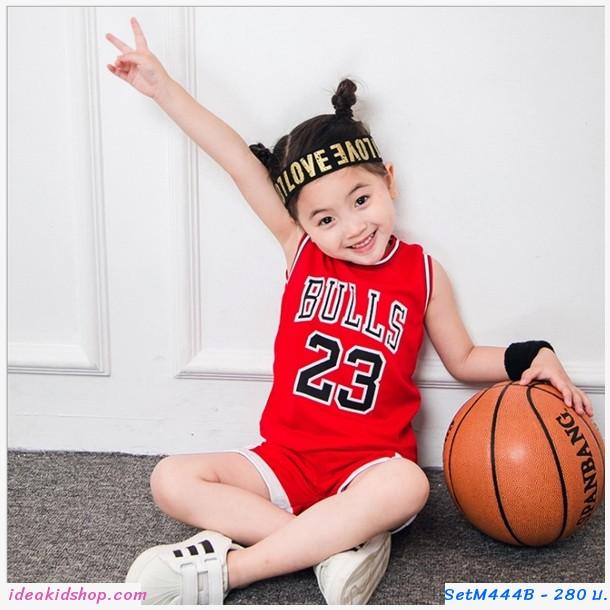 ชุดเสื้อกางเกงนักกีฬาบาสเกตบอล Bulls 23 สีแดง
