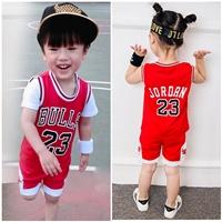 ชุดเสื้อกางเกงนักกีฬาบาสเกตบอล-Bulls-23-สีแดง